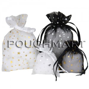 Black and White Star Organza Bags